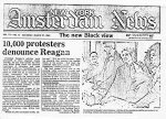 """10,000 Protesters Denounce Reagan"" New Amsterdam News (March 27, 1982)."