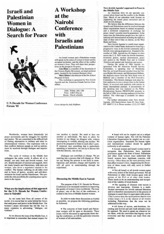 PAMPHLET: Israeli and Palestinian Women in Dialogue, A Search for Peace. 1985