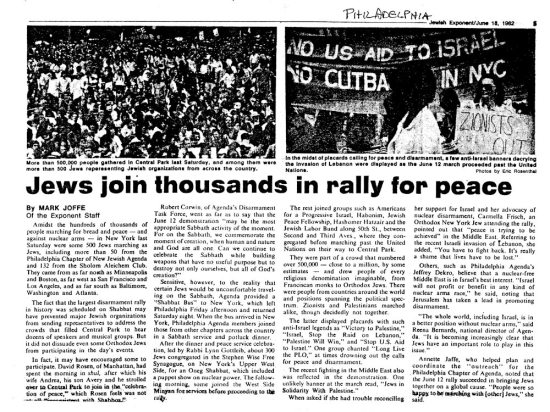 Jews Join Thousands in Rally for Peace. Jewish Exponent, 1982