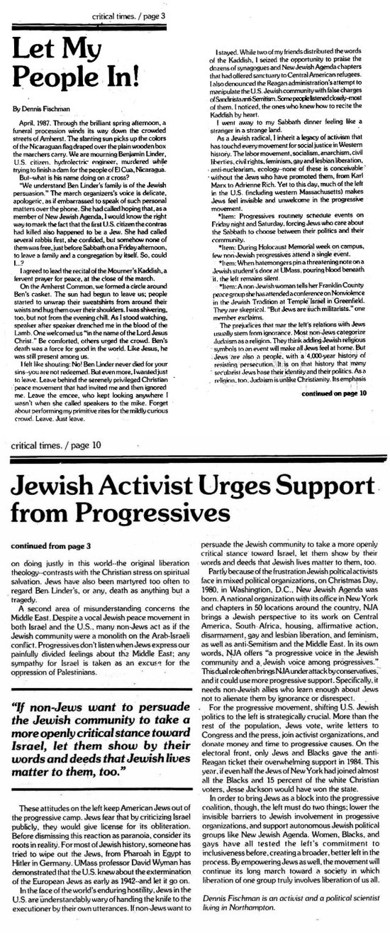 "Fischman, Dennis. ""Let My People In! Jewish Activist Urges Support from Progressives."" Critical Times."