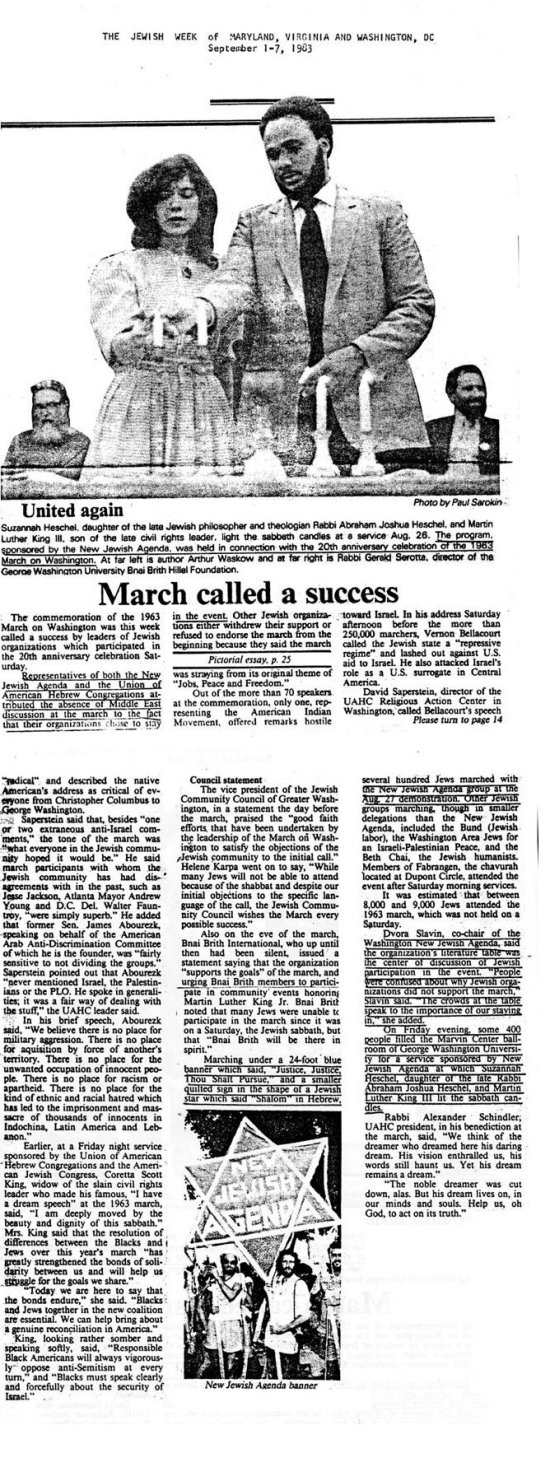 """March Called a Success."" Jewish Week of Maryland, Virginia and Washington DC, 1983"